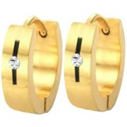 Men Style Best Quality Crystal 316L Gold Stainless Steel Round Hoop Earring For Men And Boy