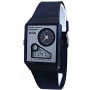 Zillin Black Sports Dual Time Alarm Wrist Watch For Kids