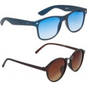 Vast Wayfarer, Retro Square, Round Sunglasses(Blue, Brown)