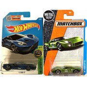 2017 Hot Wheels Ford GT New Model Factory Exotics Blue #73 + Matchbox 1966 Ford GT40 # 12 Race Car 1:64 Scale Green in Protective Cases