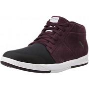 Puma Men's Funist Demi Nu Puma Black and Winetasting Leather Sneakers - 7 UK/India (40.5 EU)