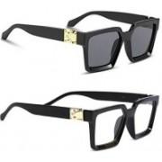 Eyevy Retro Square Sunglasses(Black, Clear)