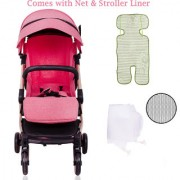 Polka Tots The Trolley Stroller Compact Portable Soft Comfortable Safe Shockproof Pram for Babies Pink
