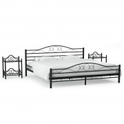 vidaXL Рамка за легло с 2 нощни шкафчета, метал, 140x200 cм, черни