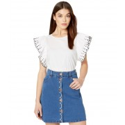 See by Chloe Embroidered Cotton Poplin T-Shirt White