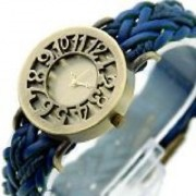 Round Dial Blue Leather Strap Womens Quartz Watch BY MISS
