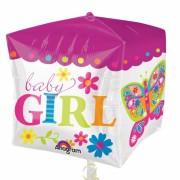 Balon patrat folie metalizata Baby Girl - 38 cm