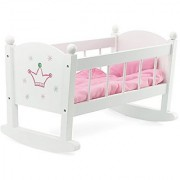 Baby Doll Cradle or Crib Rocking Furniture Fits Baby Dolls and 18 Inch American Girl Dolls Includes Mattress & Quilted B