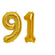 De-Ultimate Solid Golden Color 2 Digit Number (91) 3d Foil Balloon for Birthday Celebration Anniversary Parties