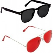 0303 FASHION HUB Retro Square, Aviator Sunglasses(Black, Red)