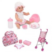 """Melissa & Doug Annie 12"""" Drink And Wet Doll With Diaper Bag And Stroller Set"""