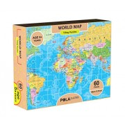 Pola Puzzles World Map Tiling Puzzles 60 Pieces Jigsaw Puzzle for Kids Age 5 Years and Above Multi Color Size 36CM X 21CM Jigsaw Puzzles for Kids
