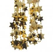 Decoris 10x stuks kerst sterren kralen guirlandes goud 270 cm kerstboom versiering/decoratie - Kerstslingers