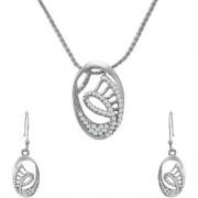 Mahi Crystal Oval Elegance Rhodium Plated Pendant Set for Women NL1102708R