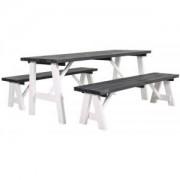 SenS-Line Rodeo houten picknicktafel wit/grijs