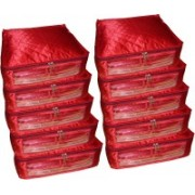 Funkroo High Quality Pack of 10 Satin 6 inch Height Saree Cover Gift Organizer bag vanity pouch Keep saree/Suit/Travelling Pouch(Maroon)