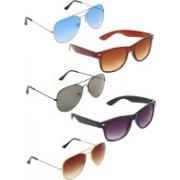 Zyaden Aviator, Aviator, Aviator, Wayfarer, Wayfarer Sunglasses(Blue, Green, Brown, Brown, Black)