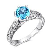 Inel Borealy Aur Alb 14K Swiss Blue Topaz Diamante Naturale