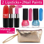 Color Diva 2 Lipstick Nail Paint With Golden Makeup Pouch Set of 5 C-539
