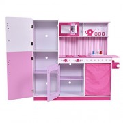 Costzon Kids Pink Wooden Kitchen Cooking Pretend Play Set with Solid Wood Construction