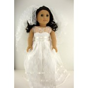 White Wedding or Confirmation Gown with See Thru Lace and Long Veil Designed for 18 Inch Doll Like t