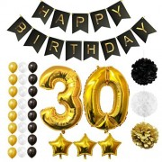 "30th Happy Birthday Party Balloons, Supplies & Decorations by Belle Vous - 32 Pc Set - Large 30 Years Foil Balloon 12"" Gold, White and Black Latex Balloon Decoration - Decor Suitable for All Adults"