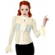 košile dámská s dlouhým rukávem BANNED - Key - White - OBN109OFF