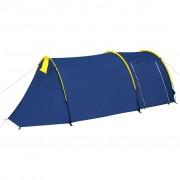 vidaXL Водоустойчива палатка за къмпинг за 4 човека, цвят морско син/жълт