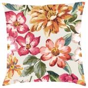 Tropical Floral Cushion - Cream - Textured Linen - Cream