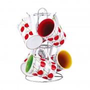 Set cani Vabene, ceramica, 6 piese, suport, model fructe
