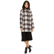Kenneth Cole New York Novelty Plaid Wool Coat Cream
