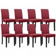 [en.casa]® 8 x sillas tapizadas (rojo oscuro) (alta calidad) con patas de madera maciza / piel sintética / elegante / Set ahorro