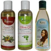 KAZIMA Combo of Olive Oil + Castor Oil and Jasmine Herbal Hair Oil (Each 100ML) Anti Hair Fall Control & Hair Growth