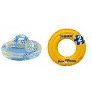 Pachet Piscina Gonflabila cu Stelute pentru Copii cu Inel si Minge Model 59460 122 x 25 cm + Colac Gonflabil Swim Ring Model 58231