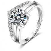 Korean Triangular Crown Zircon Adjustable Ring For Women Girls