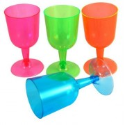 Vegaoo 20 färgglada vinglas i plast till picknicken - Festdukning One-size
