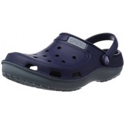 Crocs Unisex Duet Wave Clog Nautical Navy and Concrete Rubber Clogs and Mules - M6W8