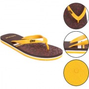 Daily Walk Brown And Golden Yellow Men's Flip-Flops And Regular Walking House Slippers
