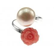 Inel argint reglabil cu perla si trandafir coral oranj