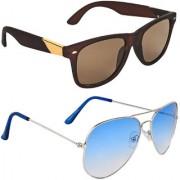 Zyaden Brown UV Protection Wayfarer Unisex Sunglasses Combo Of 2