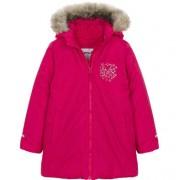 Endo Zimowa kurtka dla dziewczynki 9-13 lat, malinowo-czerwona, polarowa podszewka, odblaskowy nadruk