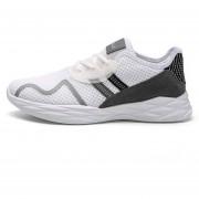 Zapatillas Casuales De Malla Transpirable Para Hombres - Blanco Y Gris
