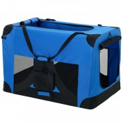 [pro.tec]® Bolsa de transporte para mascotas - Tamaño: XXXL (102x69cm) - Transportín plegable para perro (azul añil)