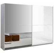 IB Living Kledingkast Kenzo 230 cm breed - Hoogglans wit met spiegel