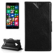 Oil Skin Texture Horizontal Flip Leather Case with Card Slots & Wallet & Holder for Nokia Lumia 830(Black)