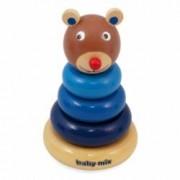Jucarie lemn educationala Ursulet cu inele de stivuit Baby Mix