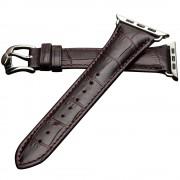 QIALINO Crocodile Pattern Genuine Leather Watch Strap for Apple Watch Series 4 40mm, Series 3 / 2 / 1 38mm - Coffee