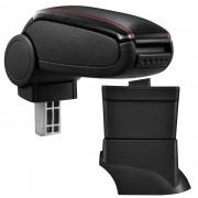 [pro.tec]® Lakťová opierka pre Fiat 500 - lakťová opierka - s odkladacím priestorom - koženka - čierna, červené prešitie