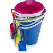 """Kids Assorted 9"""" Sand Bucket Set 6 Pack with Shovels 