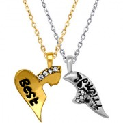 Mahi Valentine Crystal Best Friend Broken Heart Gold Rhodium Pendant PS1101532M